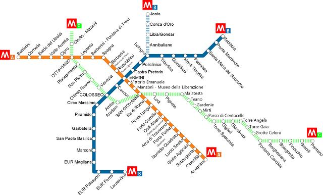 plan du métro de Rome