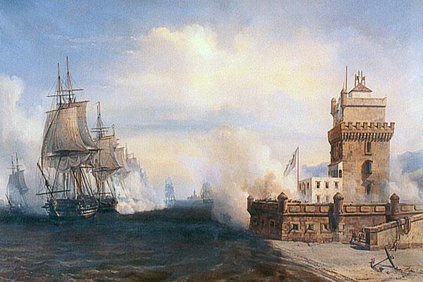 Combat du Tage devant la Tour de Belem, Lisbonne