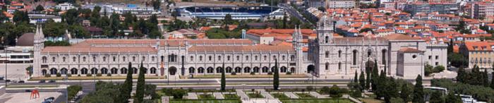 vue d'ensemble du quartier de Belem à Lisbonne, monastère des hieronymites